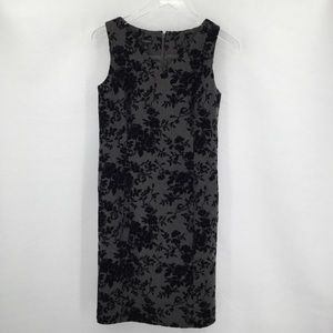 Talbots gray shift dress black velvet flocked 6
